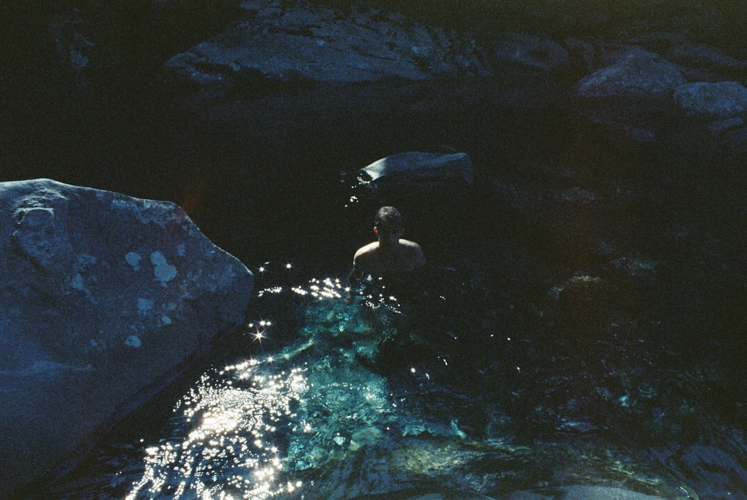 A man swimming in the water